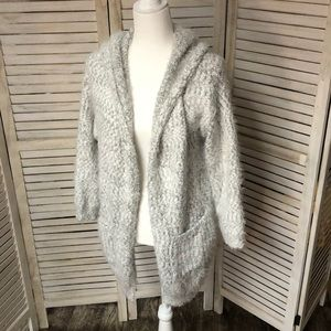 Gray & White Hooded Sweater